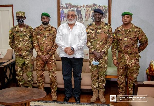 Former President Rawlings Receives Malian Military Leaders